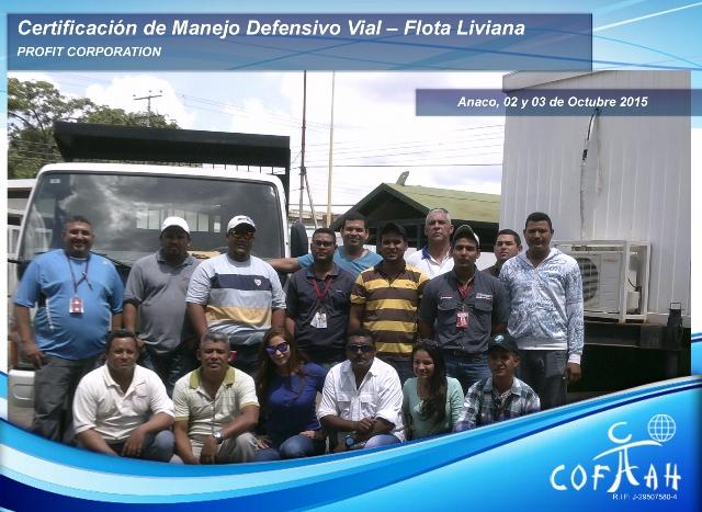 Certificación de Manejo Vial Defensivo - Flota Liviana  2 3 Oct 2015