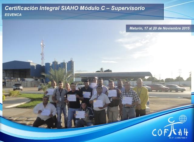 Certificación Integral SIAHO Modulo C - Supervisorio 17 al 20 Nov 2015