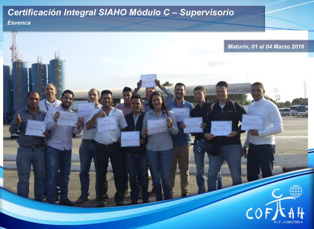 Certificación Integral SIAHO Modulo C – Supervisorio ESVENCA
