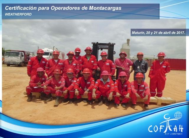 Certificación para Operadores de Montacargas 20y21Abr2017