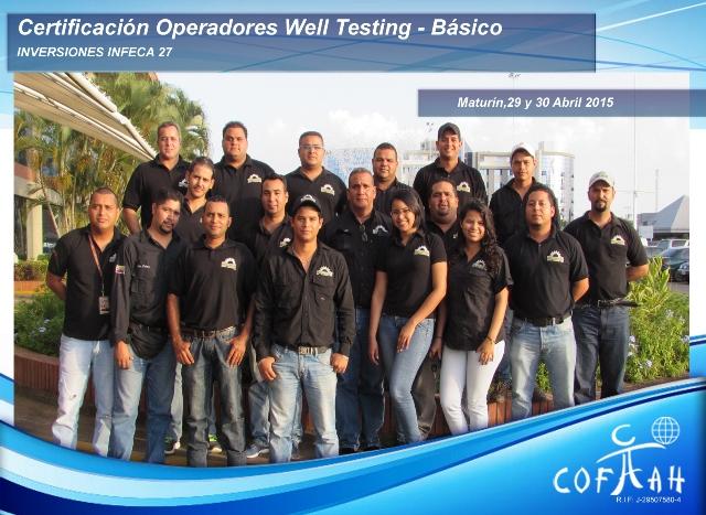 Certificación para Operadores de Well Testing - Básico (INVERSIONES INFECA 27) Maturín