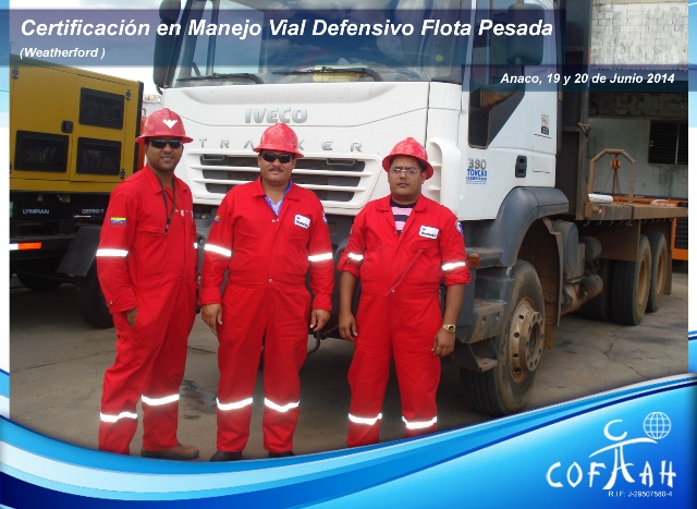 Certificación en Manejo Vial Defensivo Flota Pesada (WEATHERFORD) Anaco
