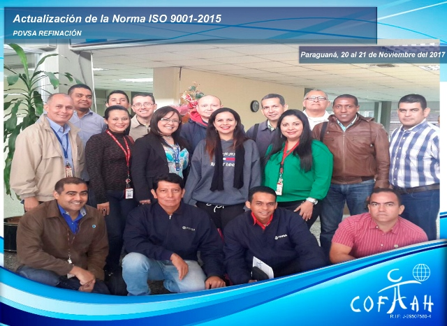 Actualización de la Norma ISO 9001-2015 (PDVSA Refinación) Paraguaná