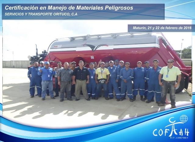 Certificación en Manejo de Materiales Peligrosos (SERVICIOS y TRANSPORTE ORITUCO) Maturín