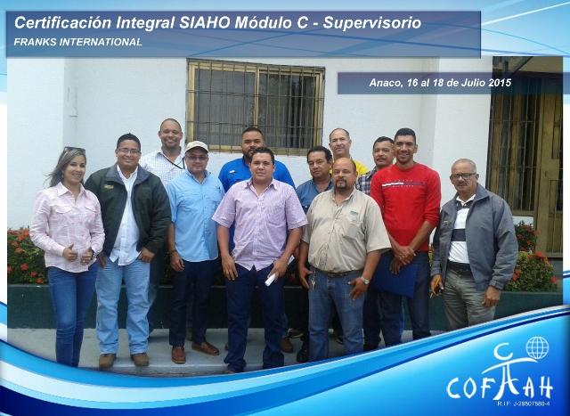 Certificación Integral SIAHO Módulo C - Supervisorio (FRANKS International) Anaco