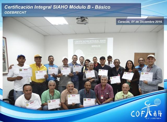 Certificación Integral SIAHO Módulo B – Básico (ODEBRECHT) Caracas