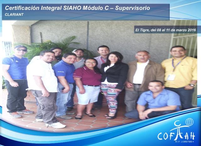 Certificación Integral SIAHO Módulo C - Supervisorio (CLARIANT) El Tigre