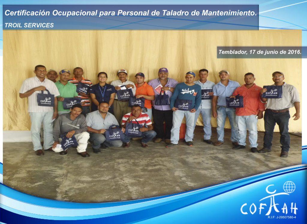 Certificación Ocupacional para Personal de Taladros de Mantenimiento (TROIL Services) Temblador