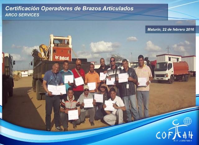 Certificación de Operadores Brazos Articulados (ARCO Services) Maturín