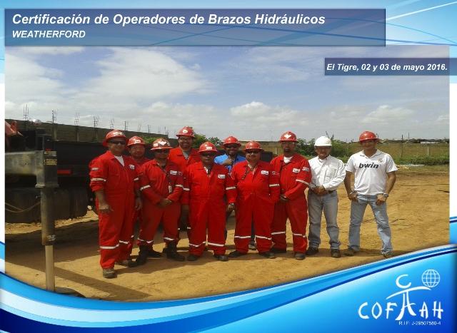 Certificación de Operadores de Brazos Hidráulicos (WEATHERFORD) El Tigre