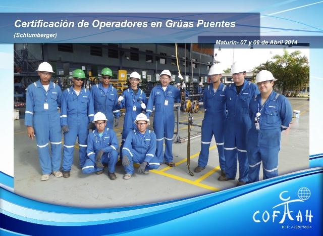 Certificaciónde Operadores en Grúas Puentes (SCHLUMBERGER) Maturín