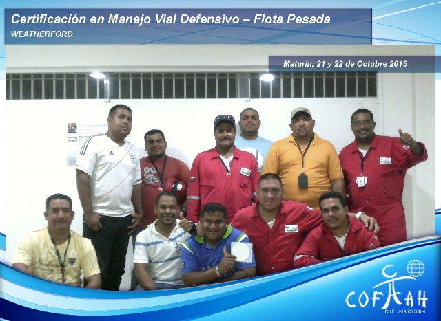 Certificación en Manejo Vial Defensivo – Flota Pasada (WEATHERFORD) Maturín