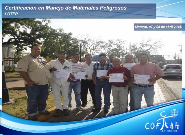 Certificación en Manejo de Materiales Peligrosos (LOTER) Maturín
