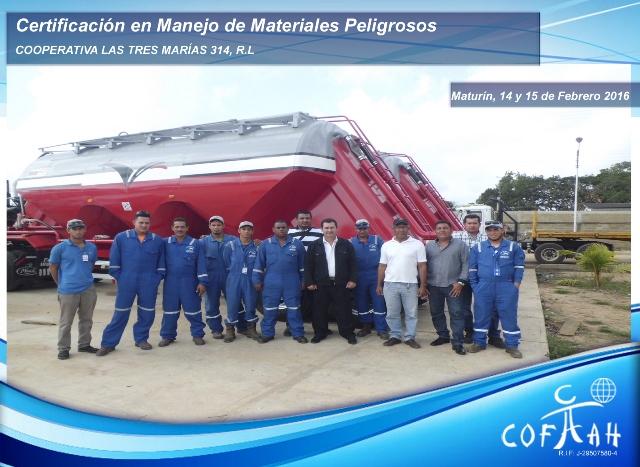 Certificación en Manejo de Materiales Peligrosos (Cooperativa Las Tres Marías) Maturín