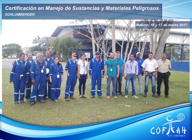 Certificación en Manejo de Sustancias y Materiales Peligrosos (SCHLUMBERGER) Maturín