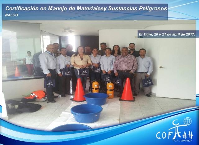 Certificación en Manejo de Materiales y Sustancias Peligrosas (NALCO) El Tigre -