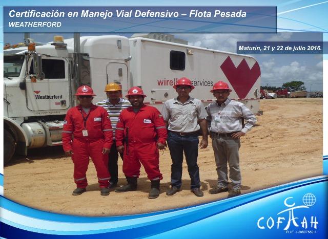 Certificación en Manejo Vial Defensivo - Flota Pesada (WEATHERFORD) Maturín