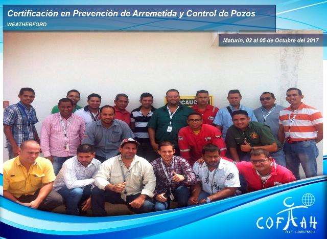 Certificación en Prevención de Arremetida y Control de Pozos (WEATHERFORD) Maturín