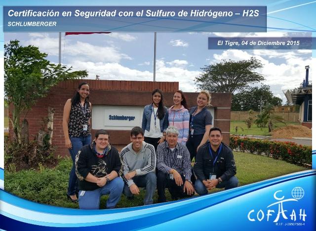 Certificación en Seguridad con el Sulfuro de Hidrógeno (SCHLUMBERGER) El Tigre