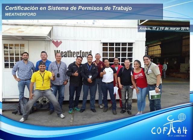 Certificación en Sistema de Pemisos de Trabajo (WEATHERFORD) Anaco
