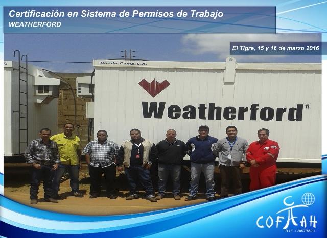 Certificación en Sistema de Pemisos de Trabajo (WEATHERFORD) El Tigre