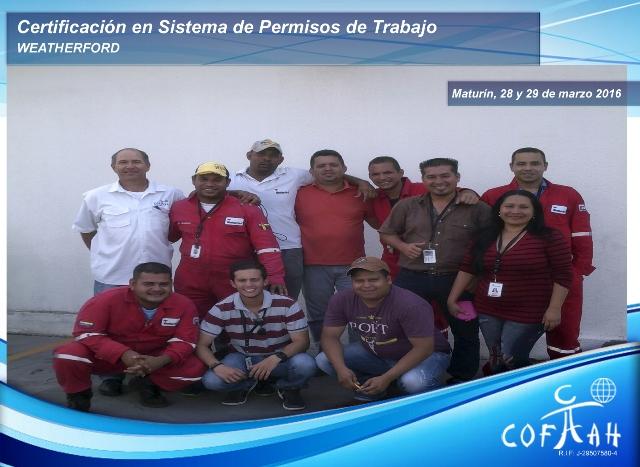 Certificación en Sistena de Permisos de Trabajo (WEATHERFORD) Maturín