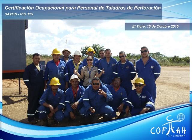 Certificación Ocupacional para Personal de Taladros de Perforación (SAXON) El Tigre