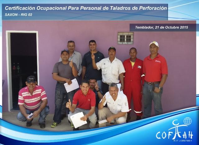 Certificación Ocupacional para Personal de Taladros de Perforación (SAXON) Temblador