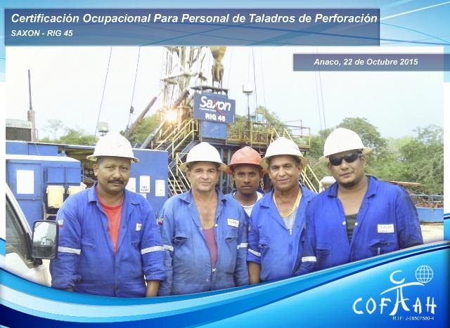 Certificación Ocupacional para Personal de Taladros de Perforación (SAXON) Anaco