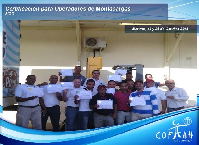Certificación para Operadores de Montacargas (SIGO) Maturín