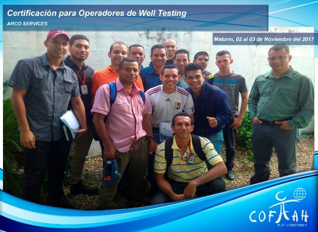 Certificación para Operadores de Well Testing (ARCO Services) Maturín