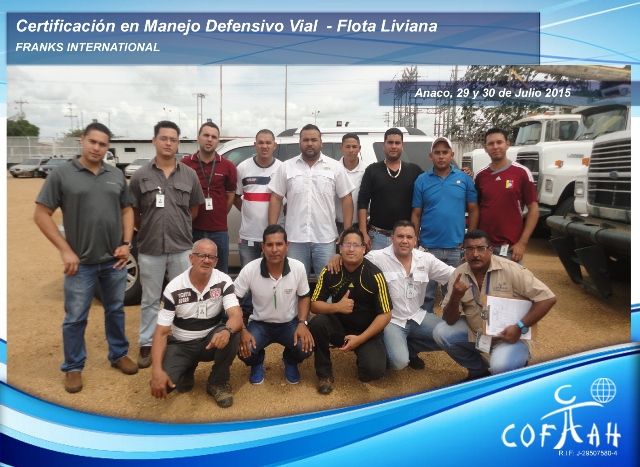 Certificación en Manejo Defensivo Vial - Flota Livina (FRANKS International) Anaco