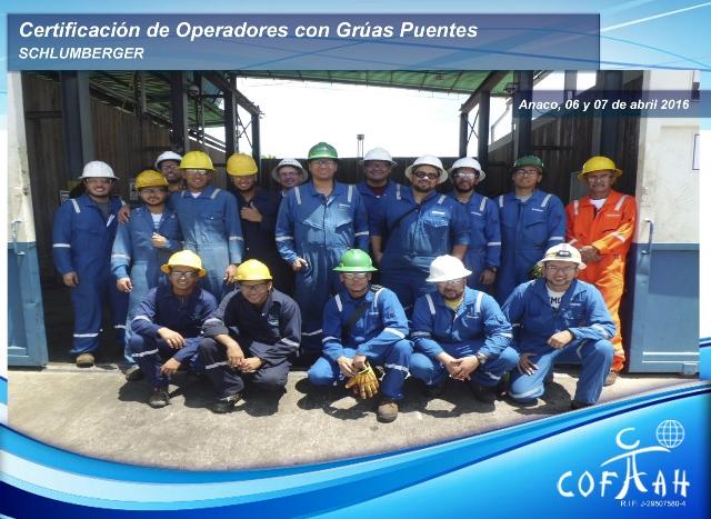 Certificación de Operadores con Grúas Puentes (SCHLUMBERGER) Anaco