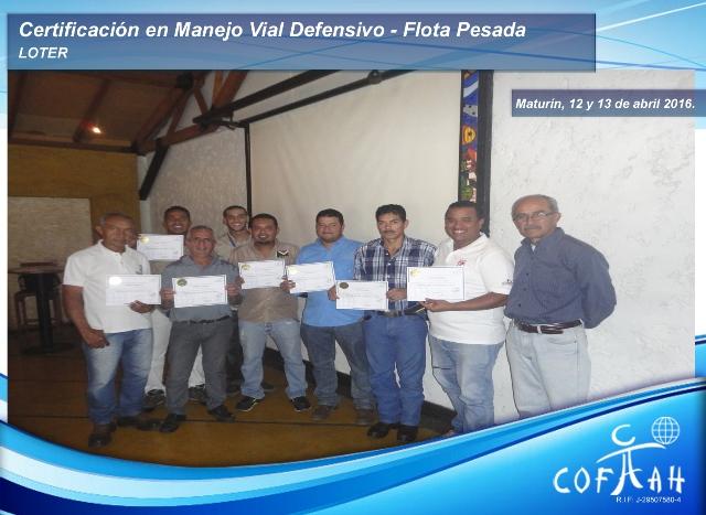 Certificación en Manejo Vial Defensivo - Flota Pesada (LOTER) Maturín
