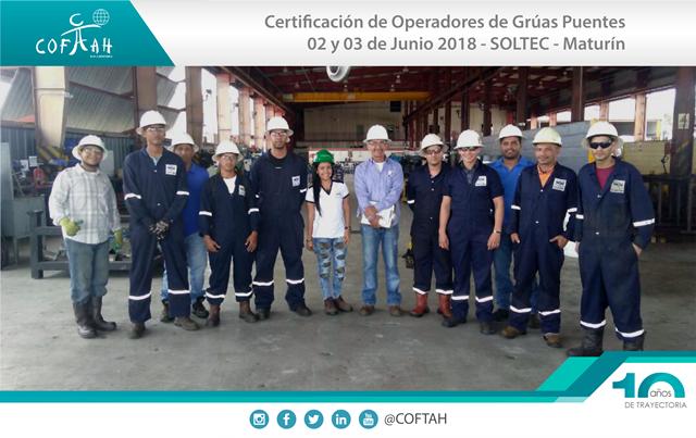Certificación de Operadores de Grúas Puentes (SOLTEC) Maturín