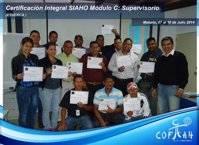 Certificación Integral SIAHO Módulo C Supervisorio (ESVENCA) Maturín
