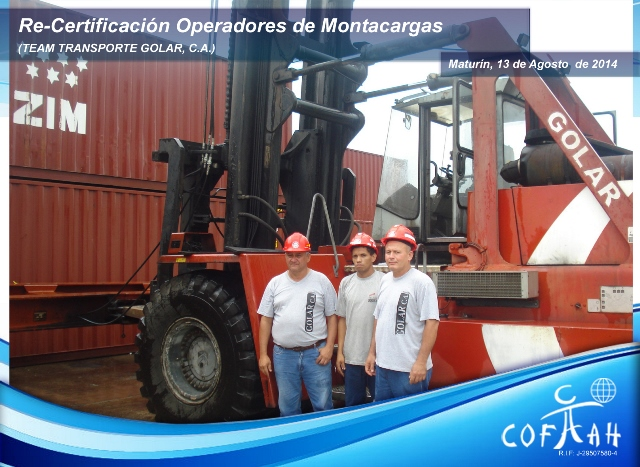 Re-Certificación de Operadores de Montacargas (TRANSPORTE GOLAR) Maturín