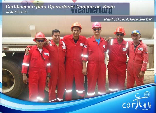 Certificación Operadores de Camiones de Vacío (WEATHERFORD) Maturín