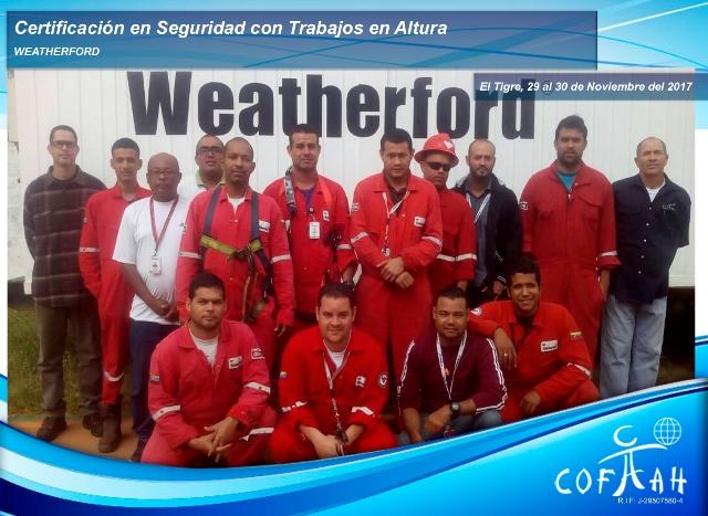 Certificación en Seguridad con Trabajos en Altura (WEATHERFORD) El Tigre