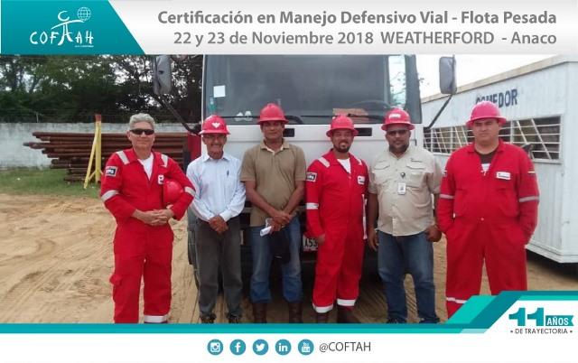 Certificación en Manejo Defensivo Vial – Flota Pesada (WEATHERFORD) Anaco