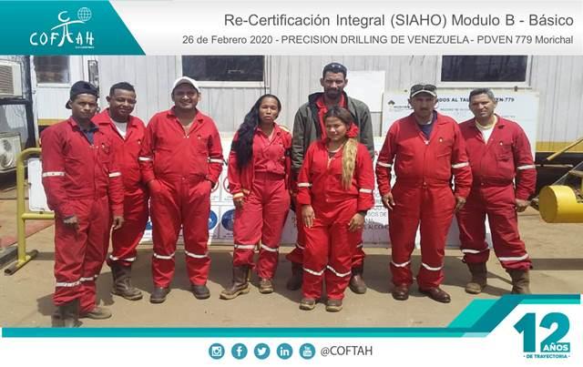 Re-Certificación Integral SIAHO Módulo B - Básico (PRECISION DRILLING) Taladro PDVEN 779 Morichal