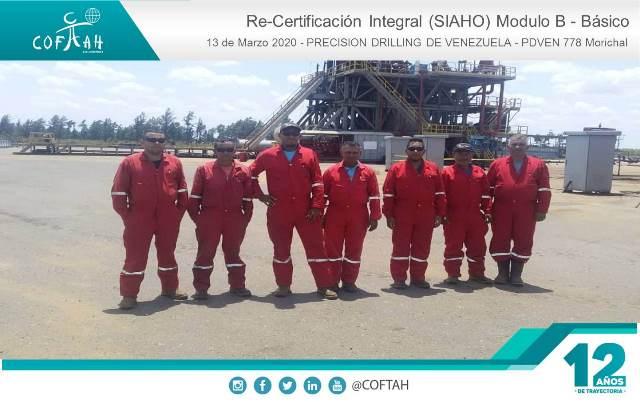 Re-Certificación Integral SIAHO Módulo B – Básico (PRECISION DRILLING) Taladro PDVEN 778 Morichal