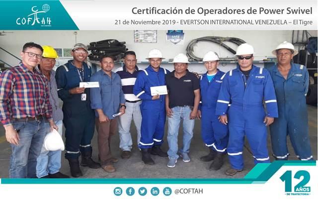 Certificación de Operadores de Power Swivel (EVERTSON) El Tigre