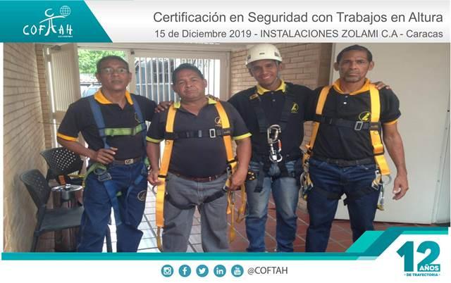 Certificación en Seguridad para Trabajos en Altura (INSTALACIONES ZOLAMI) Caracas