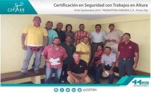 Certificación en Seguridad con Trabajos en Altura (PROMADRICA) Punto Fijo