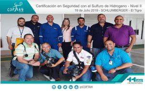 Certificación en Seguridad con el Sulfuro de Hidrogeno (SCHLUMBERGER) El Tigre