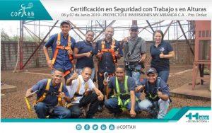 Certificación en Seguridad con Trabajos en Altura (PROYECTOS E INVERSIONES MV MIRANDA) Pto. Ordaz
