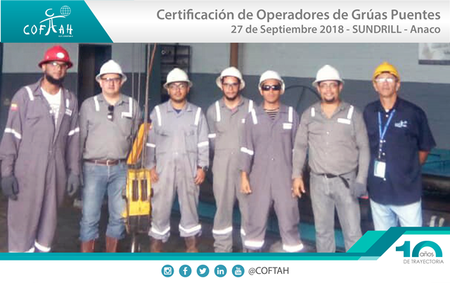 Certificación de Operadores de Grúas Puentes (SUNDRILL) Anaco