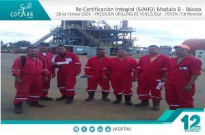 Re-Certificación Integral SIAHO Módulo B - Básico (PRECISION DRILLING) Taladro PDVEN 778 Morichal