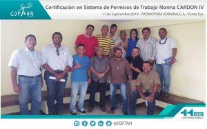 Certificación en Sistema de Permisos de Trabajo - Norma Cardon IV (PROMADRICA) Punto Fijo